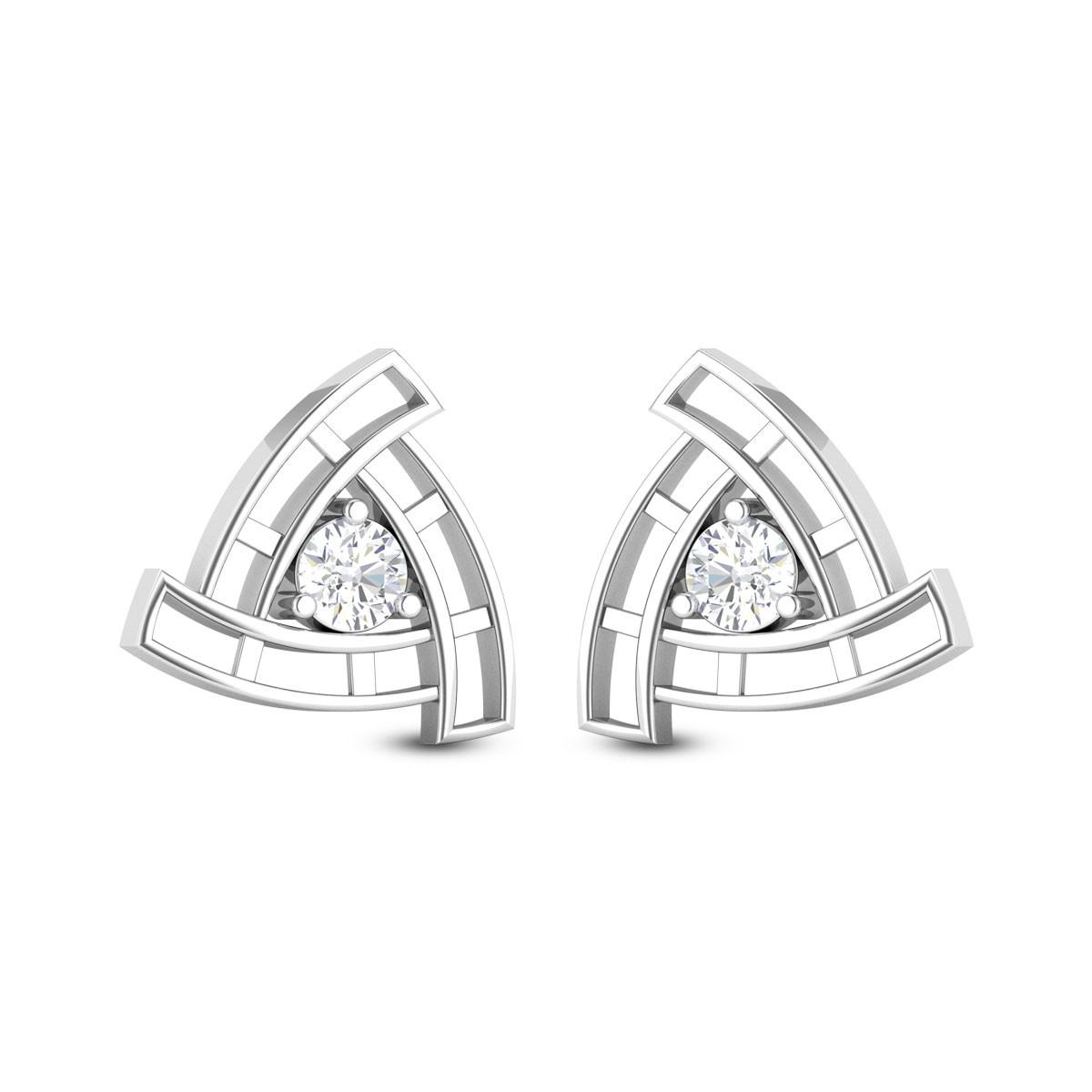 Aamodh Triangular Solitaire Stud Earrings