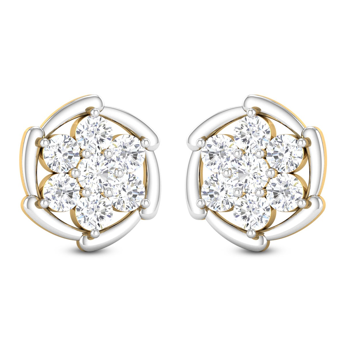 Shaham Floral Solitaire Stud Earrings