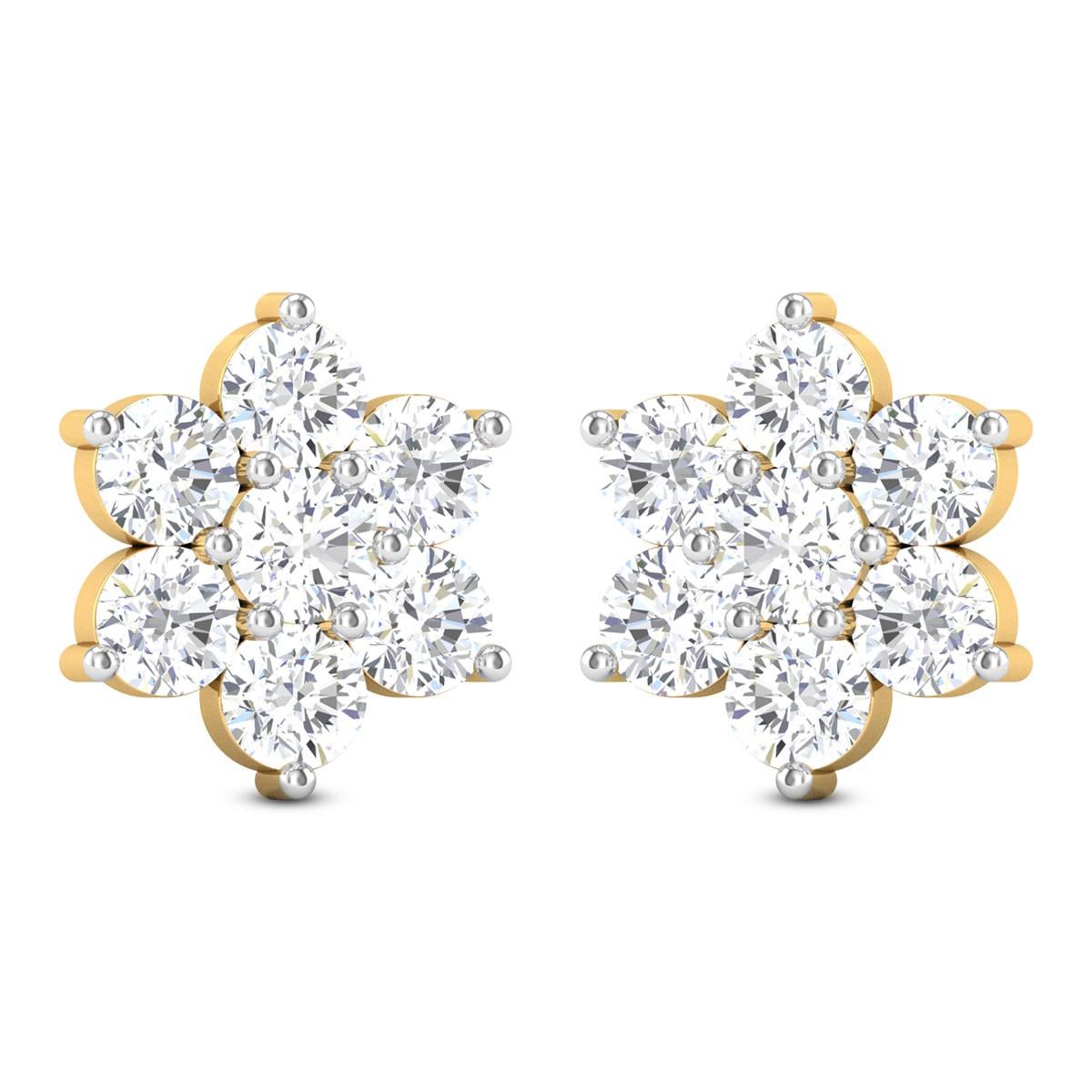 Zul 7 Stone Solitaire Stud Earrings