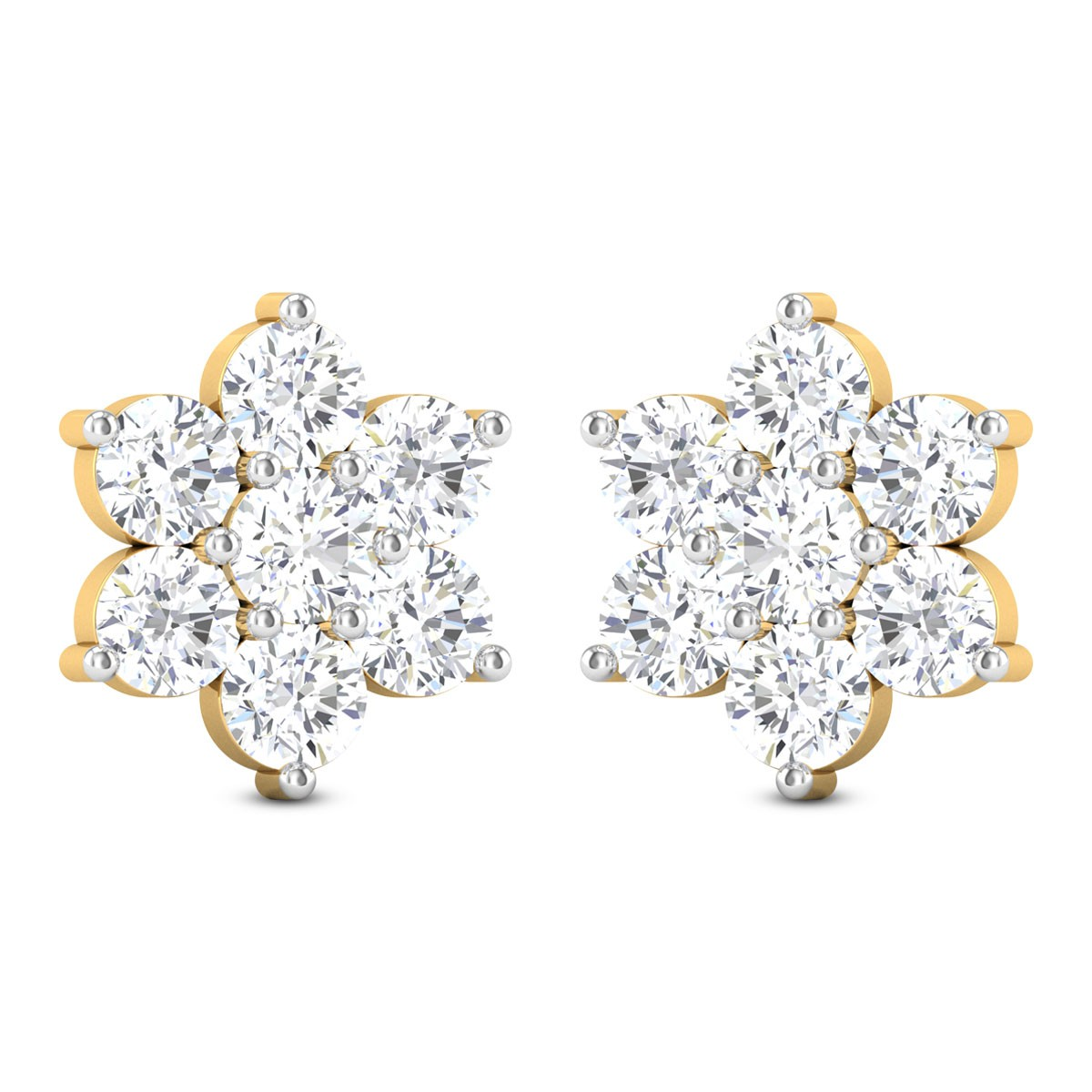 Zephyra 7 Stone Solitaire Stud Earrings