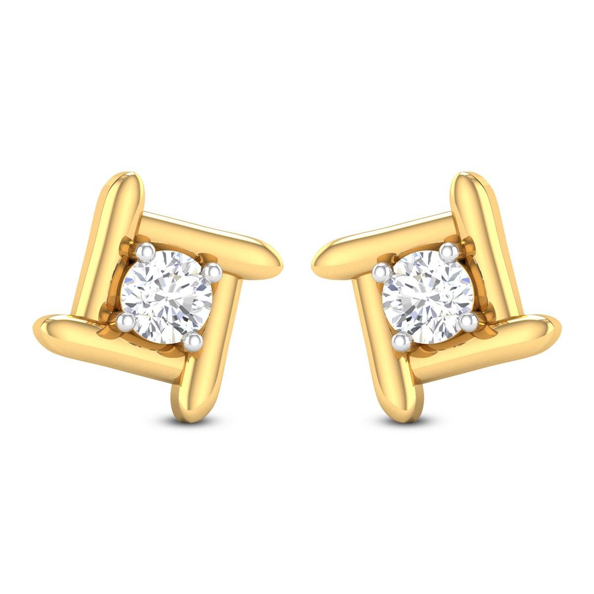 Swastik Solitaire Stud Earrings