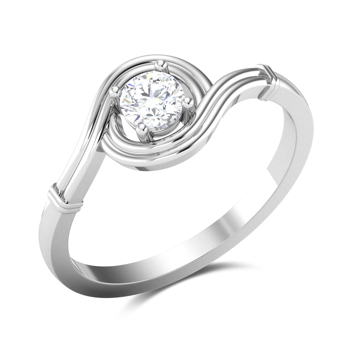 Lovell 4 Prong Swirl Solitaire Ring