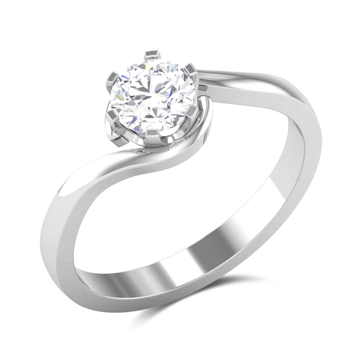 Erin 6 Prong Twist Solitaire Ring