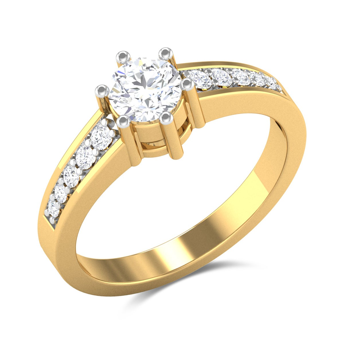 Pyramid 6 Prong Solitaire Ring