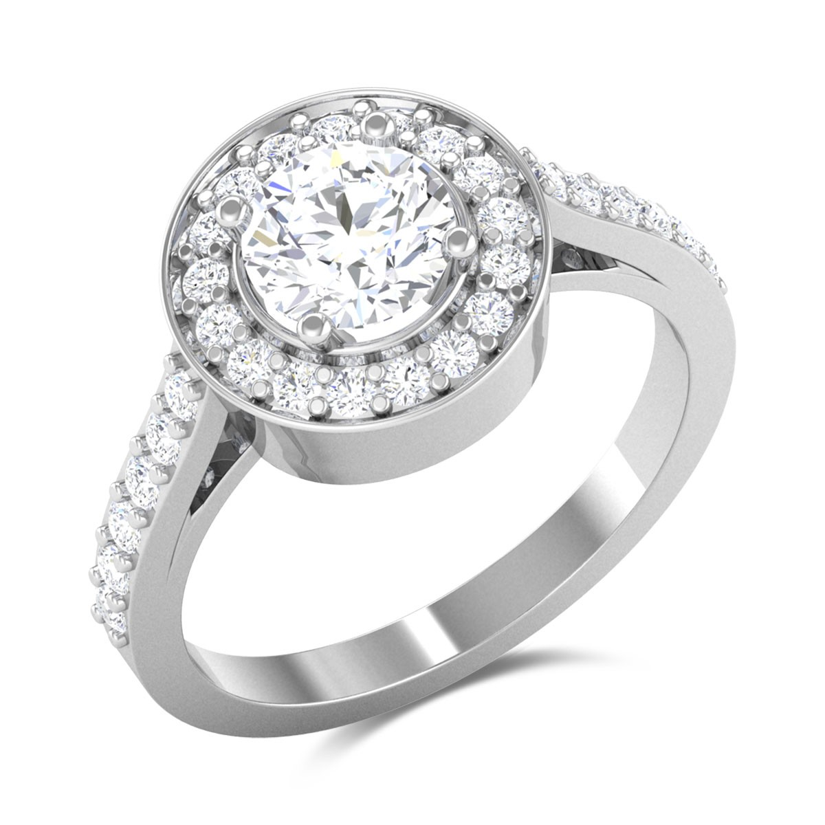 Azure Halo Solitaire Ring