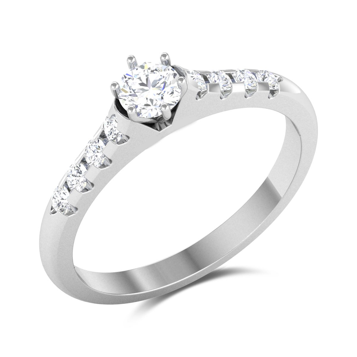 Dancing Rainbow 6 Prong Solitaire Ring