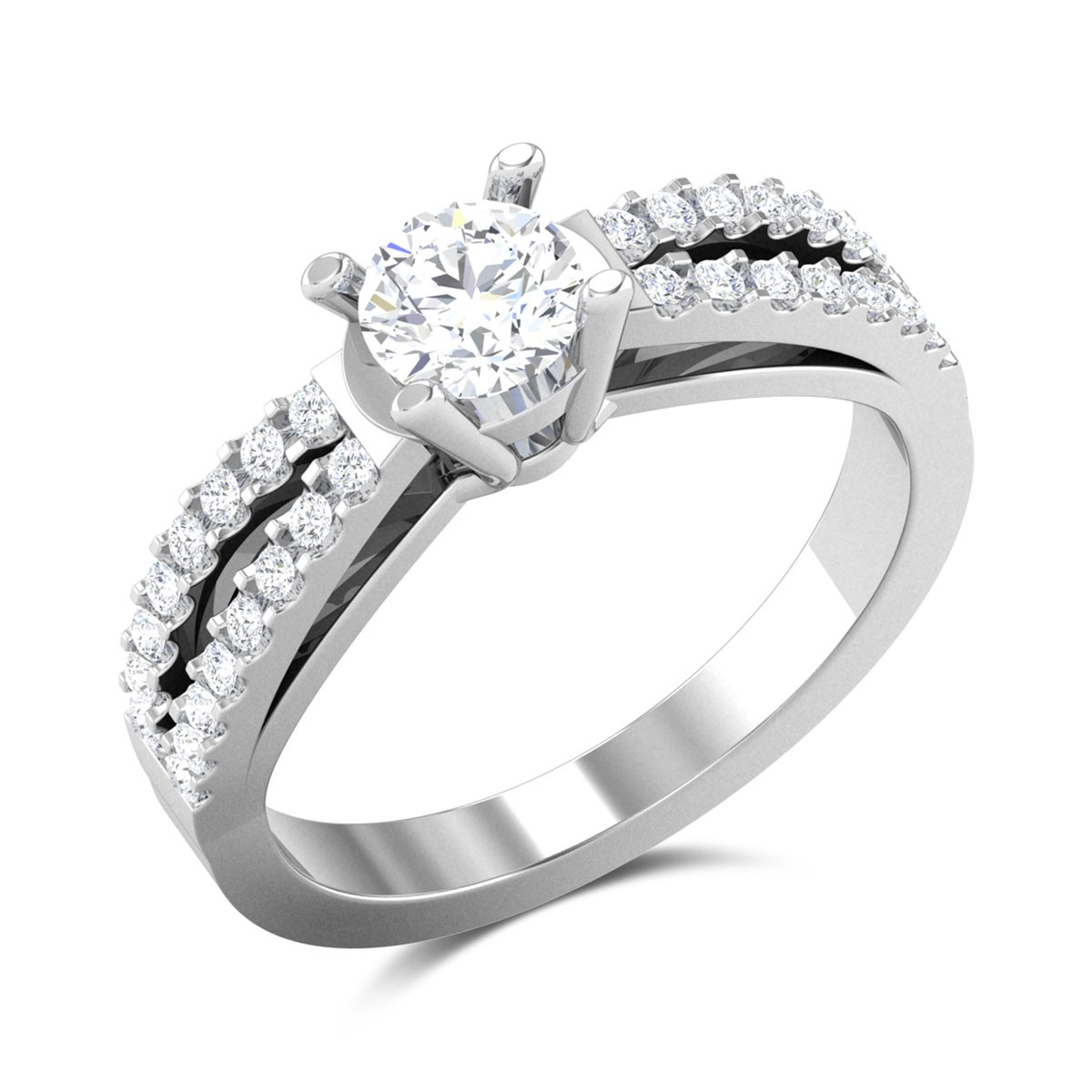 Dual Band 4 Prong Solitaire Ring