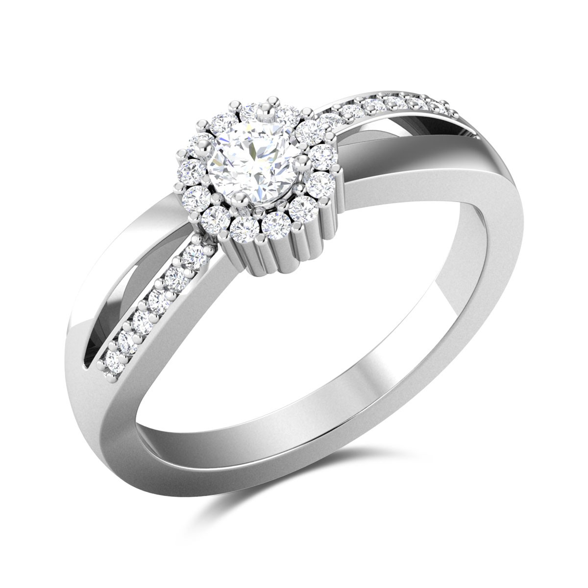 Merle Split Band Wavy Solitaire Ring