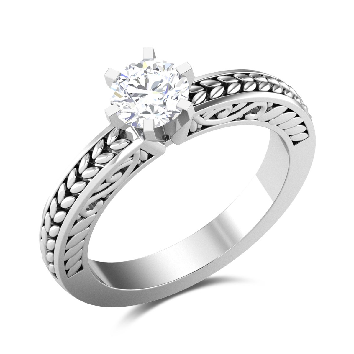 Champak 6 Prong Solitaire Ring