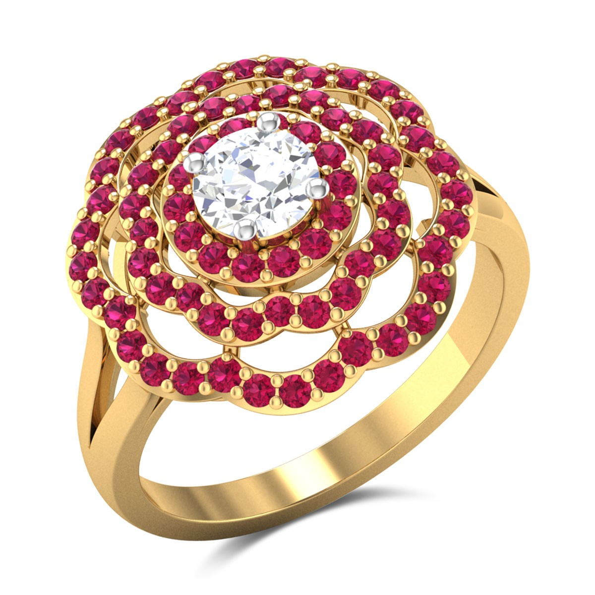 Ruby Floral Solitaire Ring