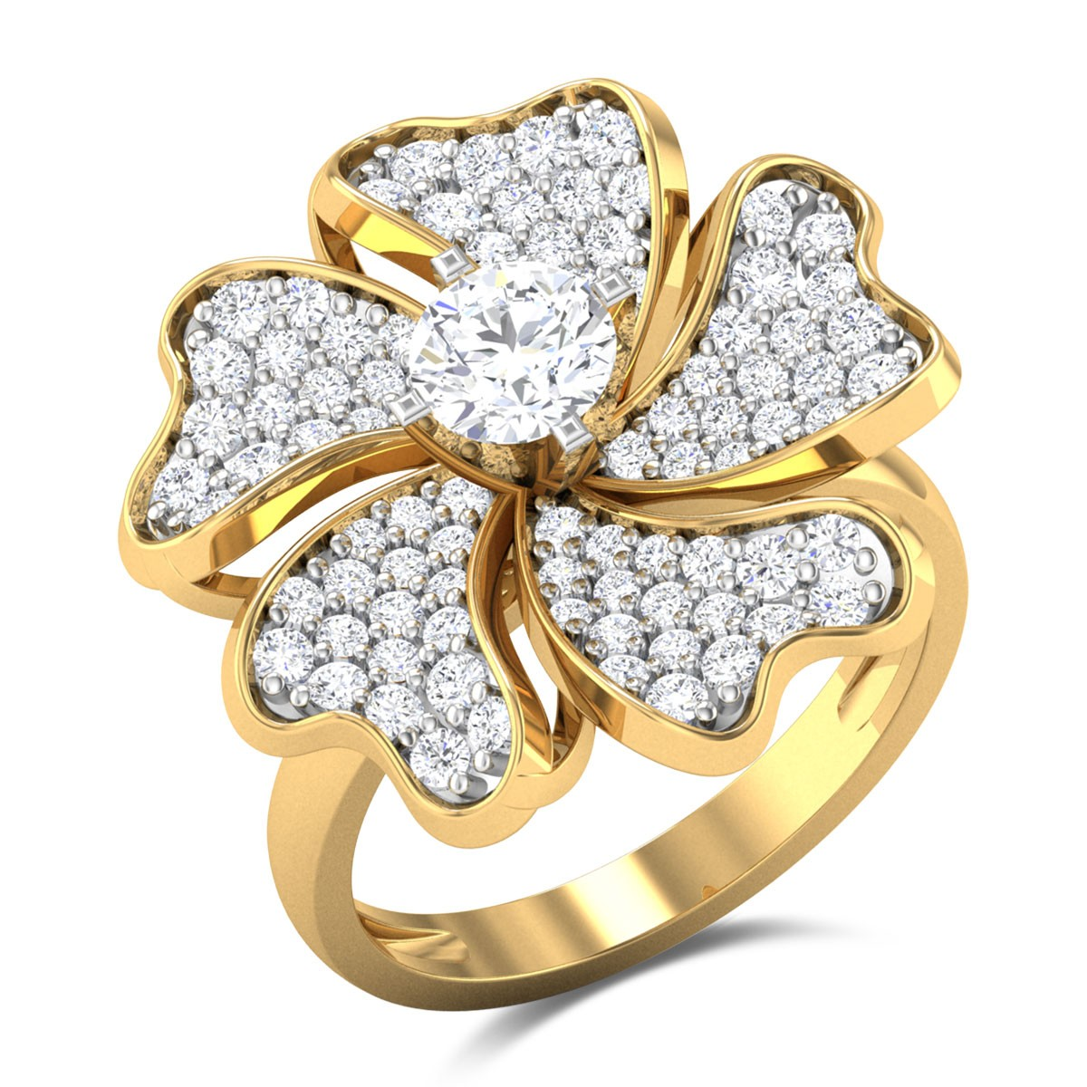 Chaithra Floral Solitaire Ring