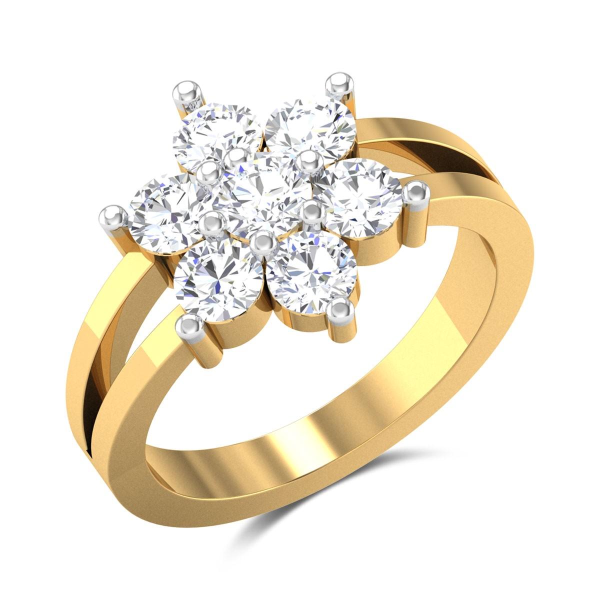 Dangelo Floral Split Band Solitaire Ring