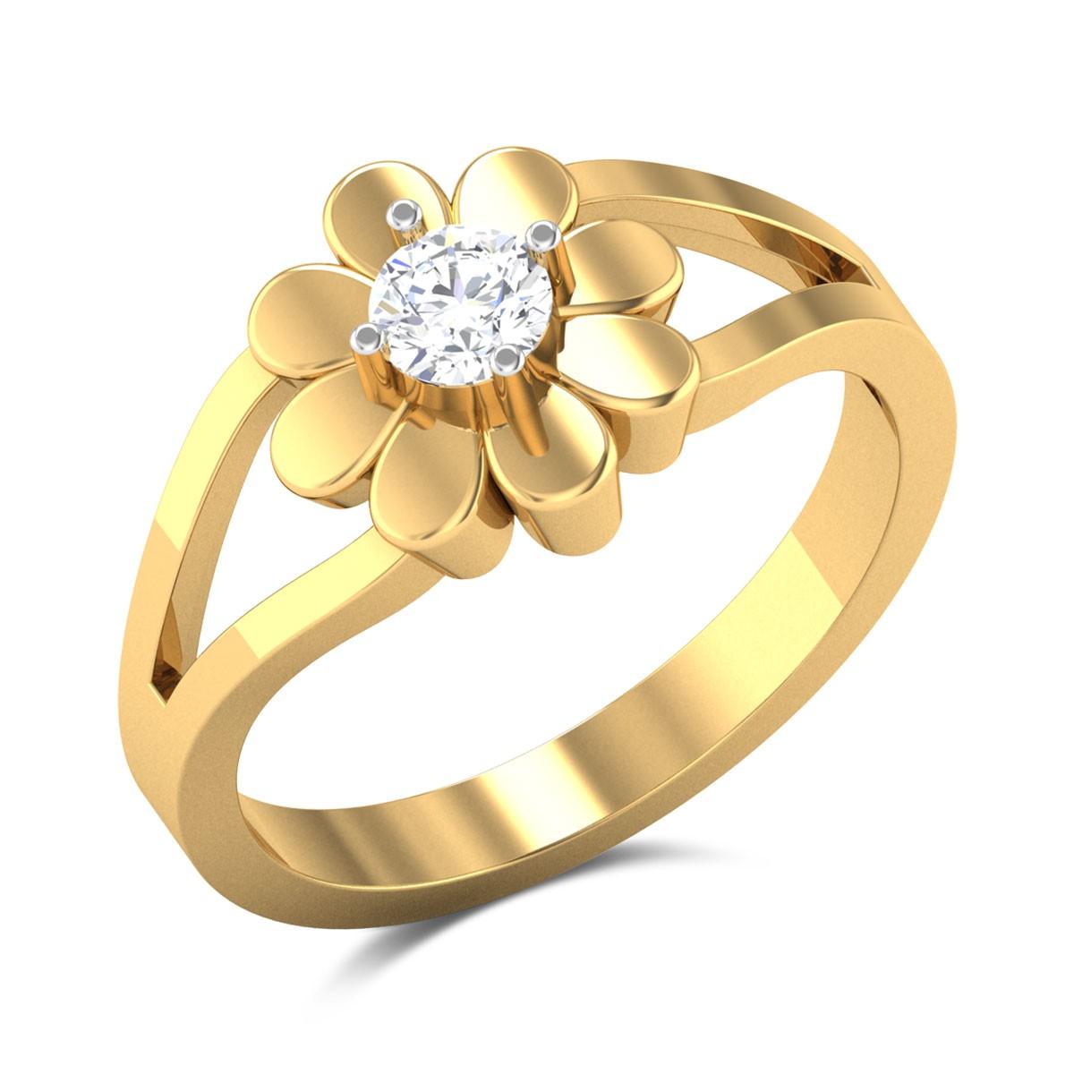 Damari Floral Split Band Solitaire Ring