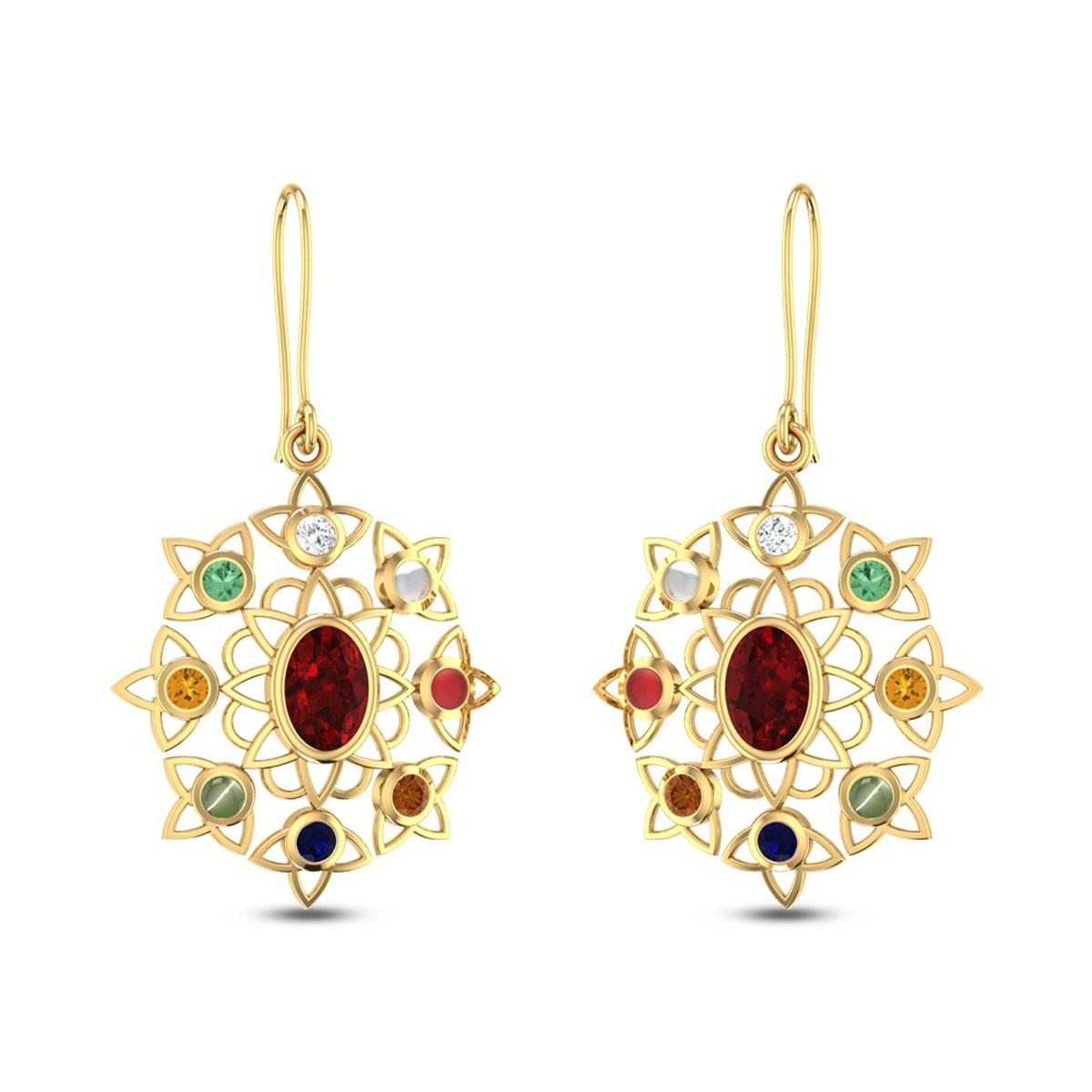 Rangoli Navratna Earrings