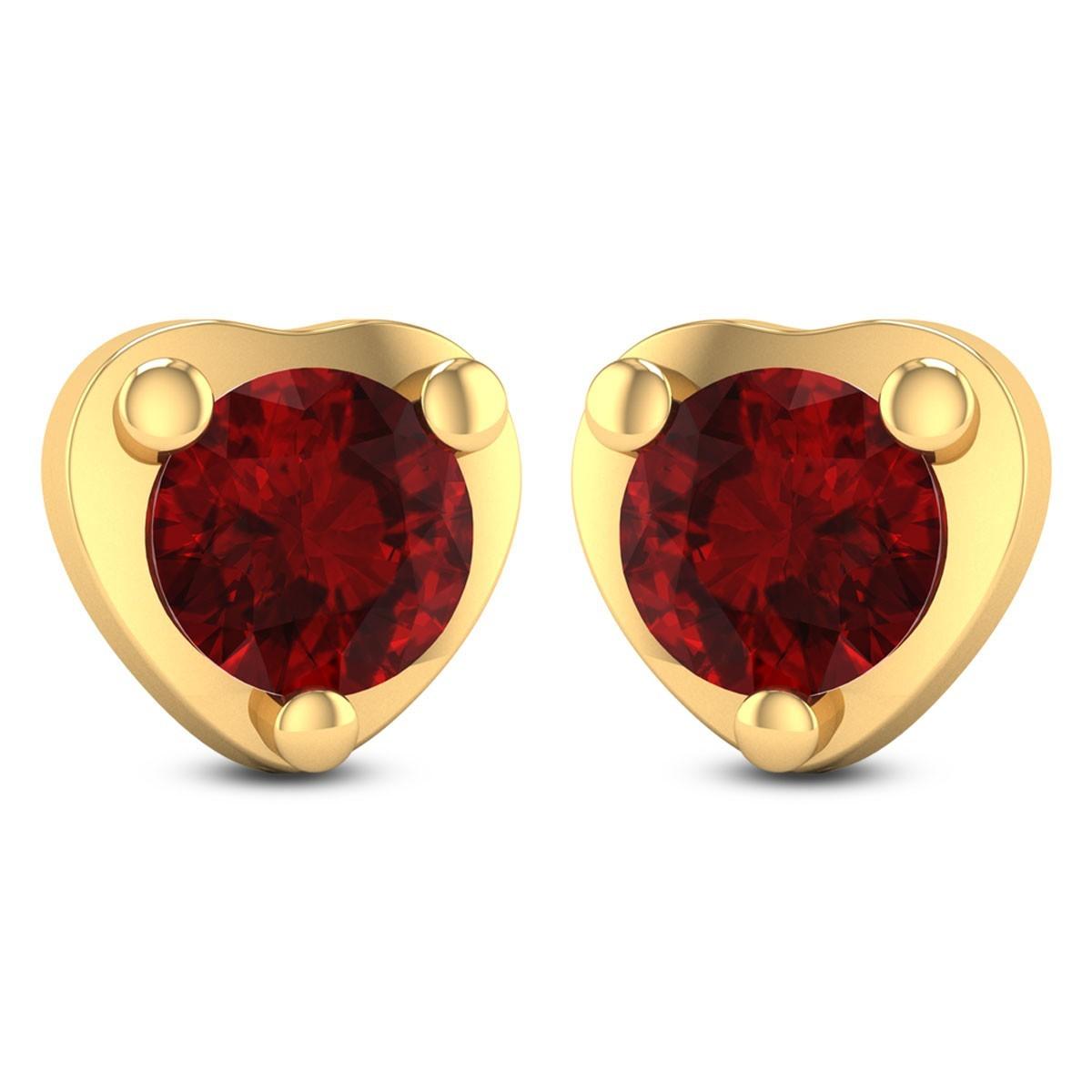 Heart-in-Ruby Stud Earrings