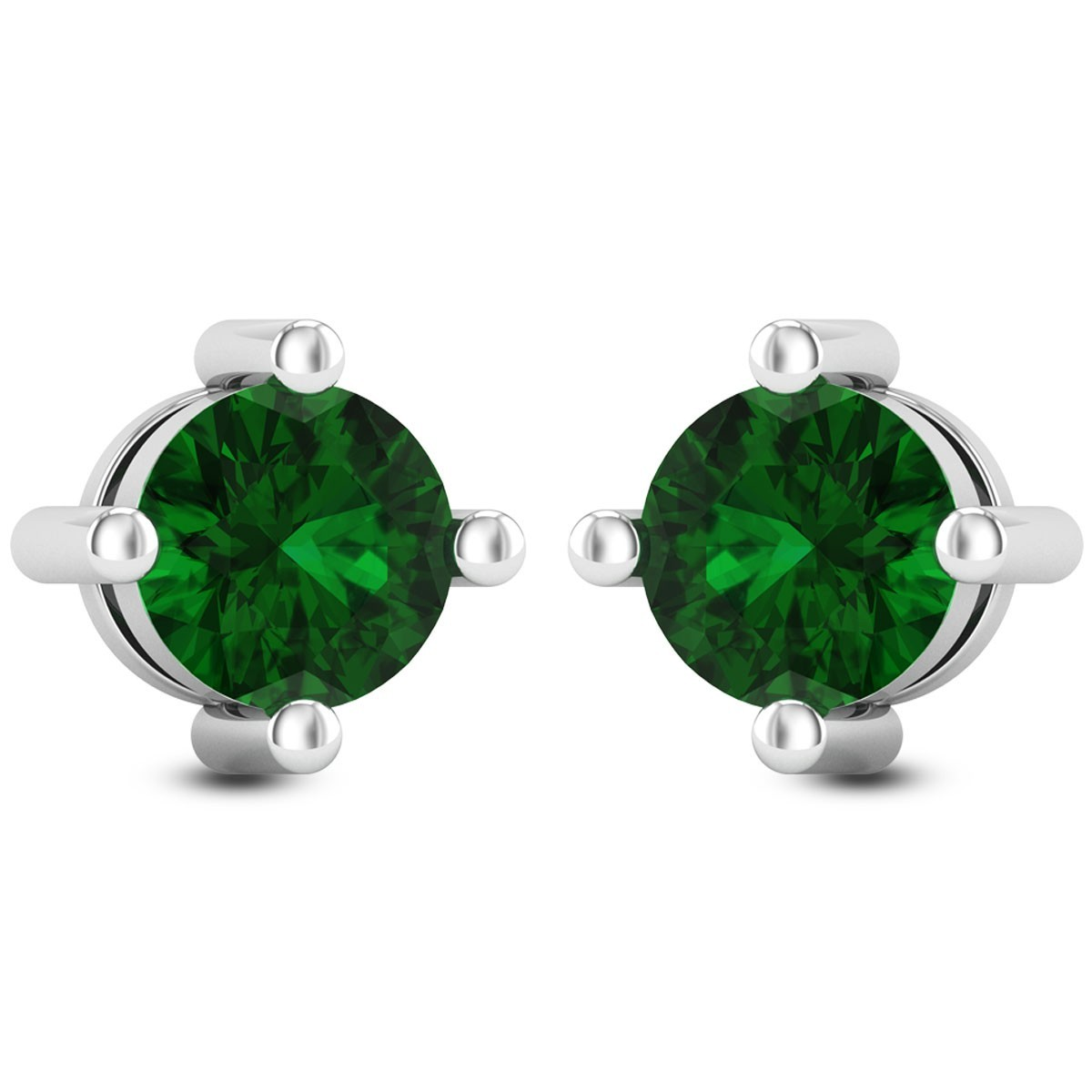 Emerald Solitaire Stud Earrings