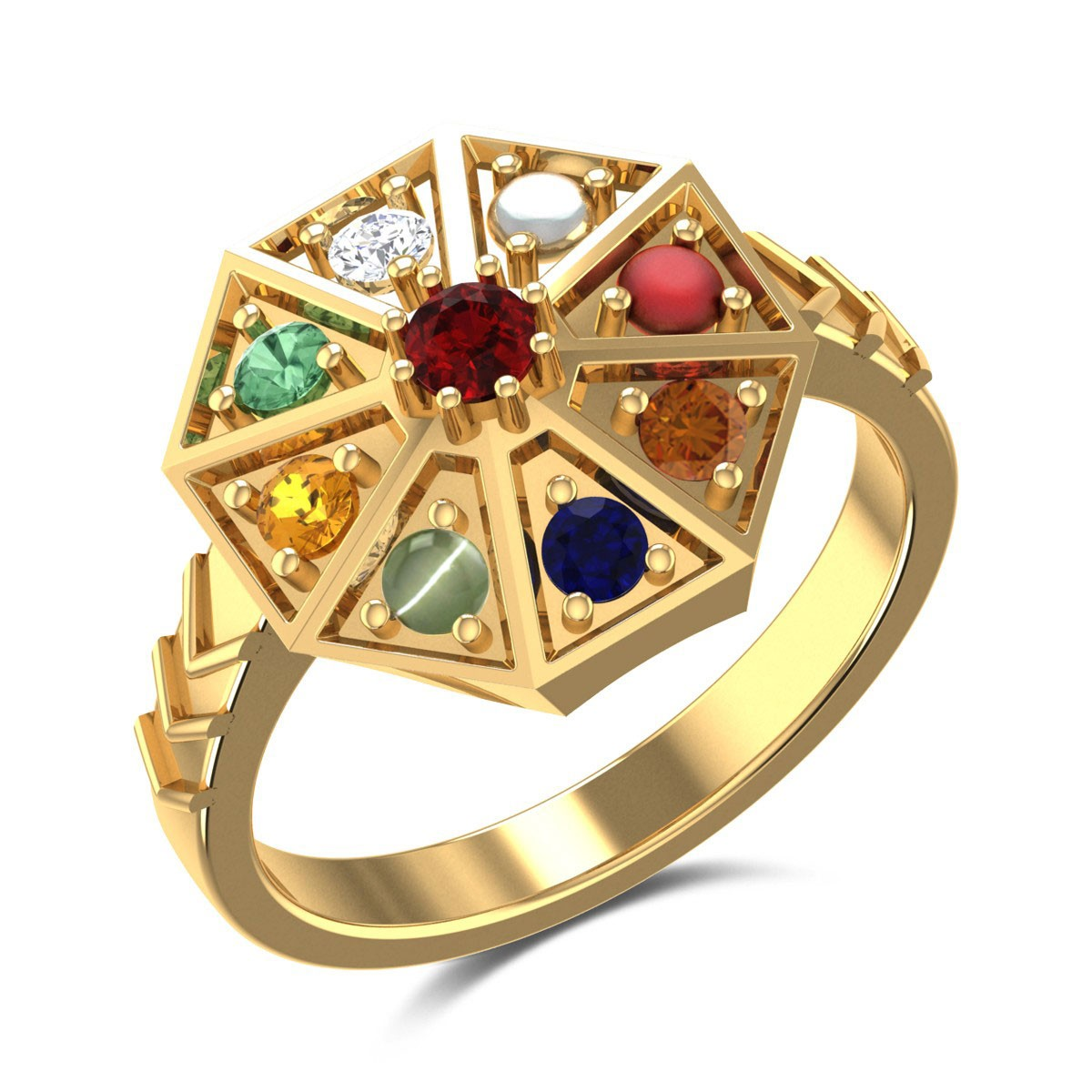 Octagon Navratna Ring