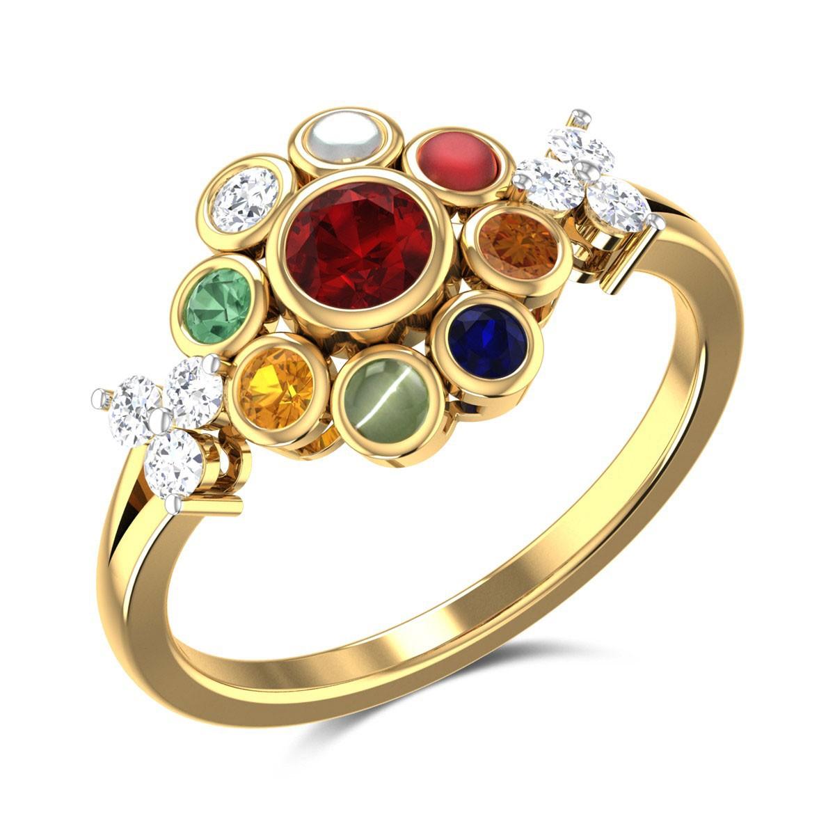 Palila Floral Navratna Ring