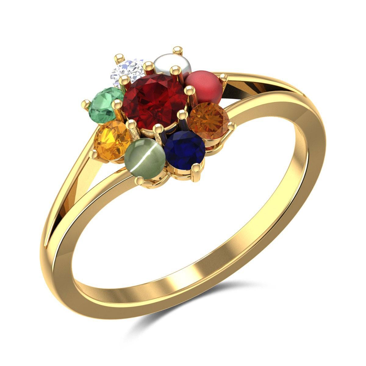 Teal Floral Navratna Ring