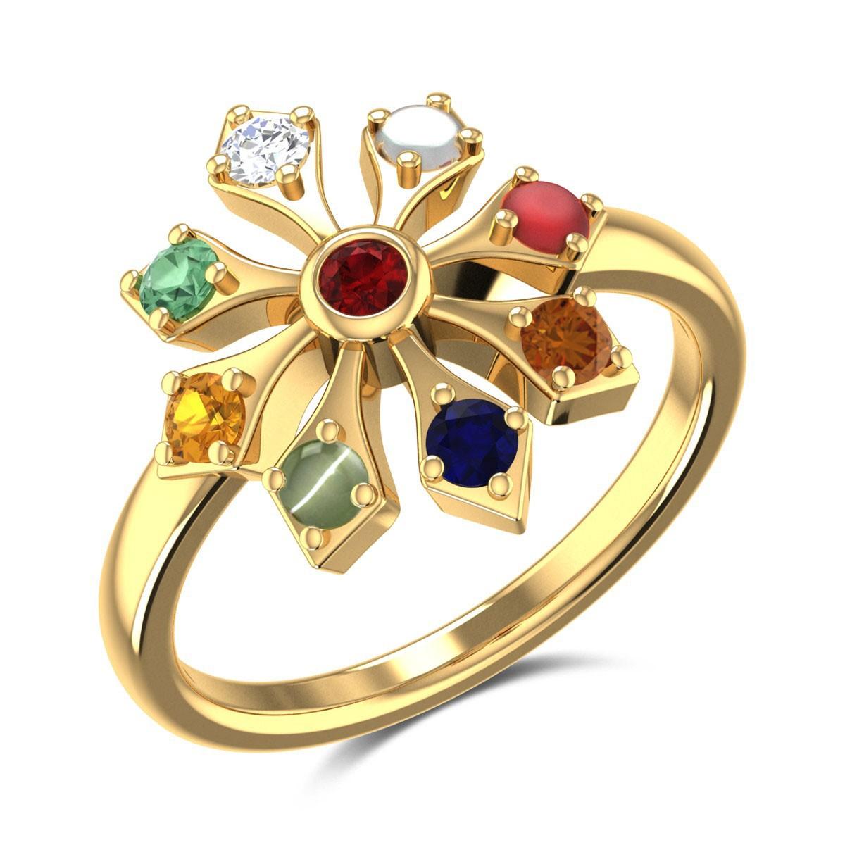 Cicero Floral Navratna Ring