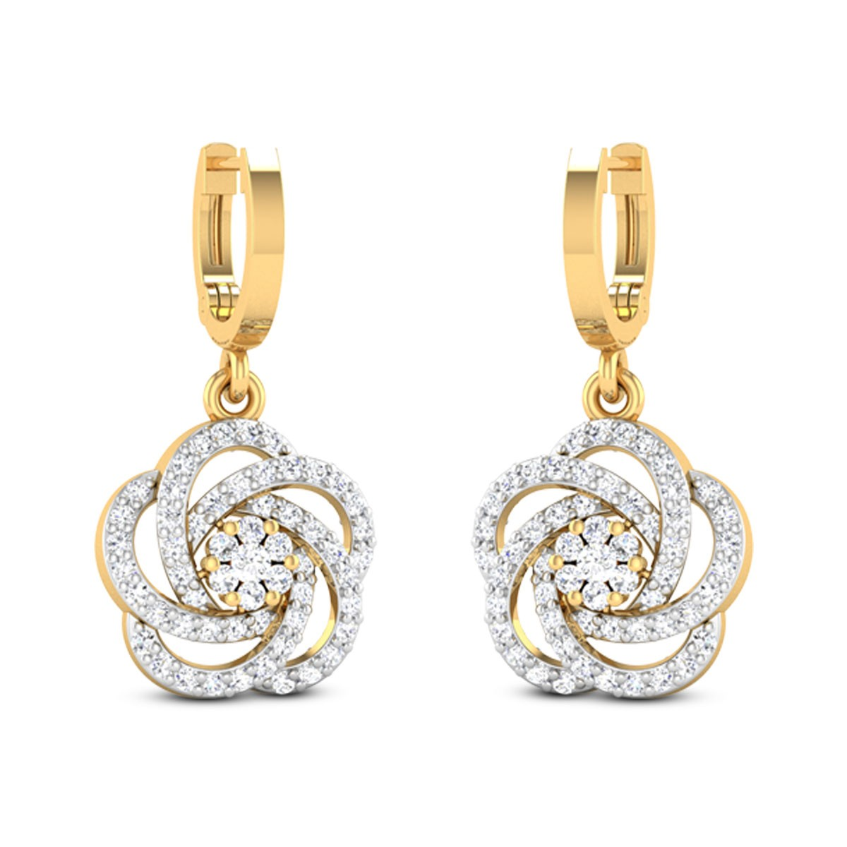 Shining Flower Diamond Earrings