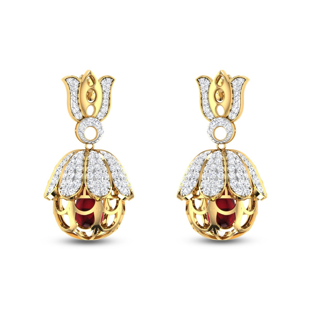 Lotus Diamond Jhumkas