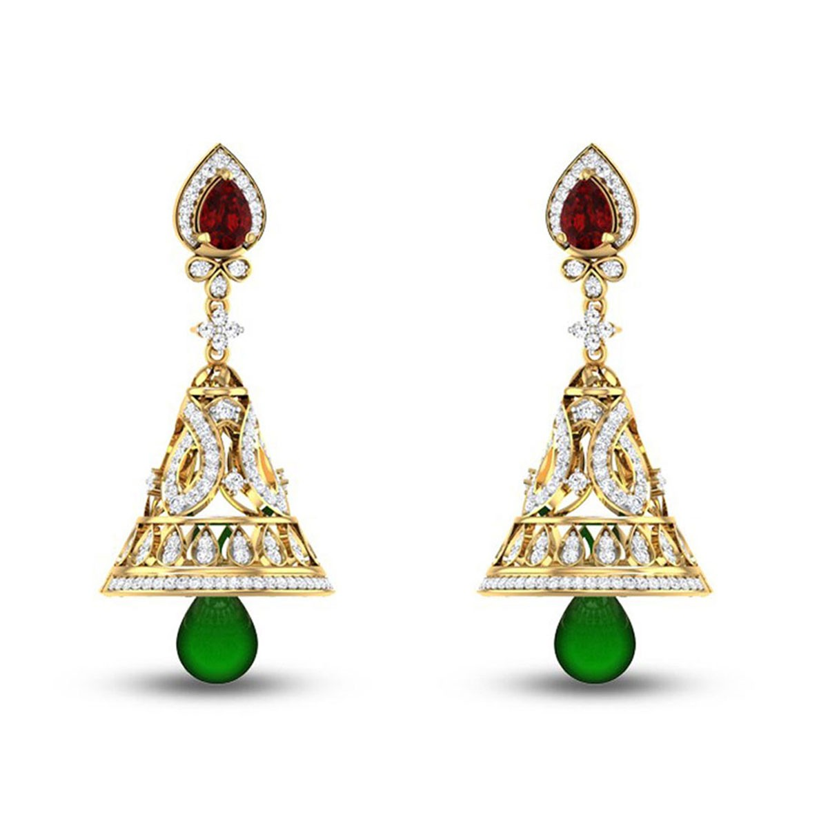 Emerald Dancing Bells Diamond Earrings