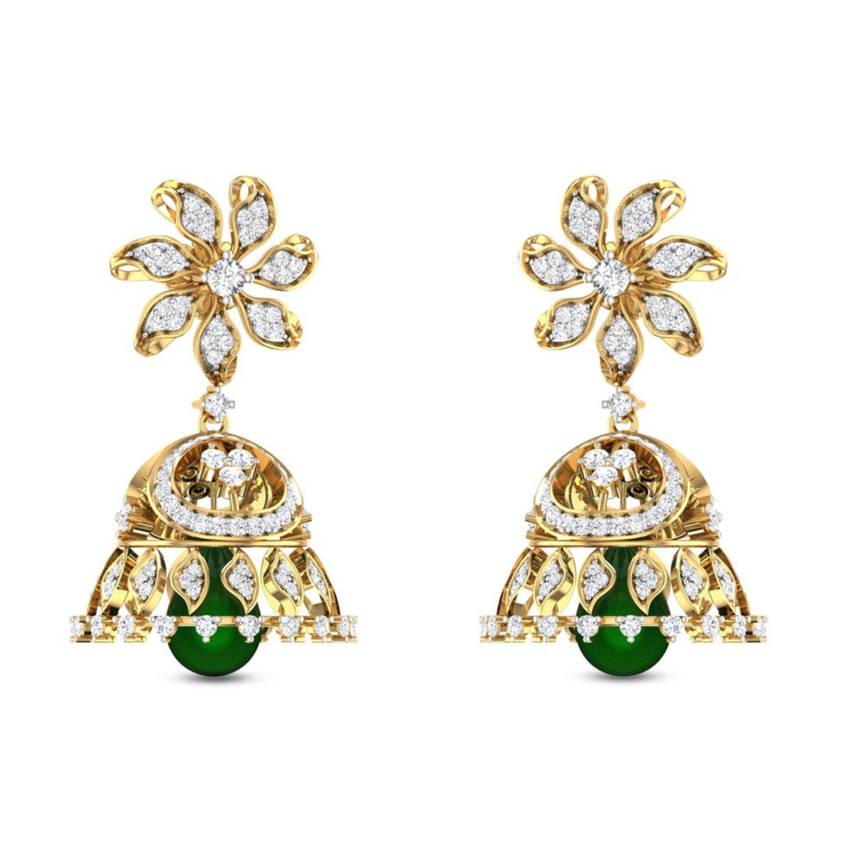 Floral Emerald Drop Diamond Earrings