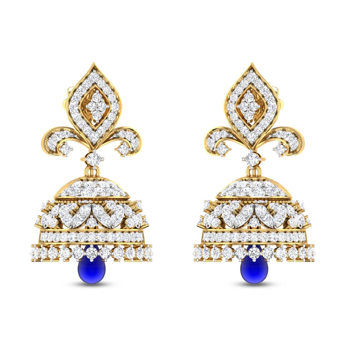 Elegant Sapphire Drop Diamond Jhumkas