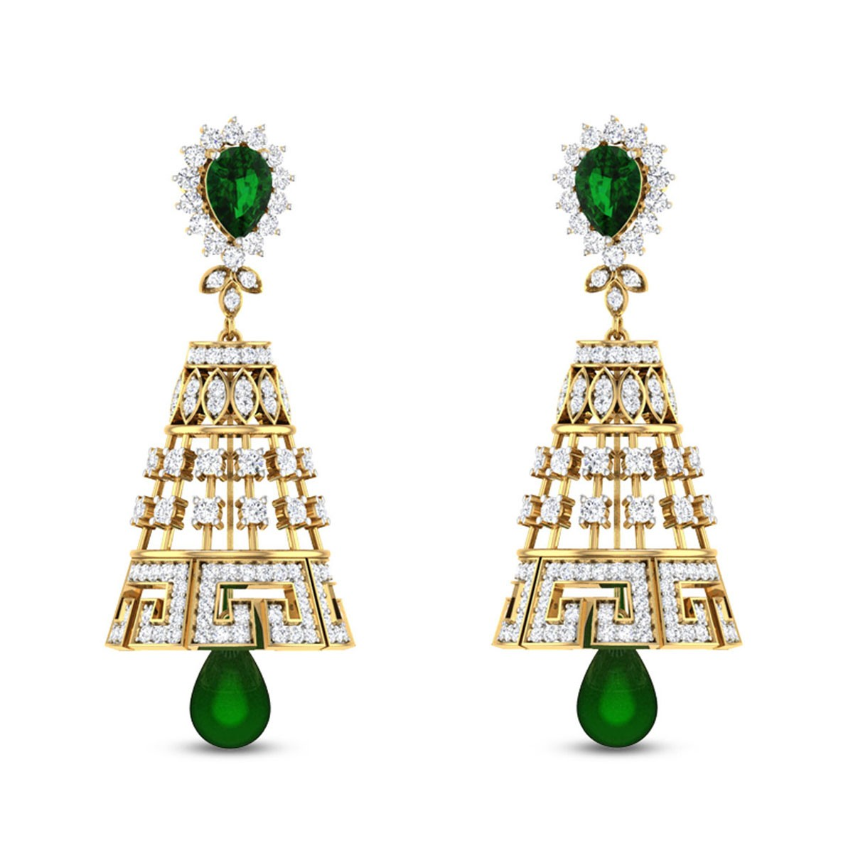 Classy Emerald Symphony Diamond Earrings