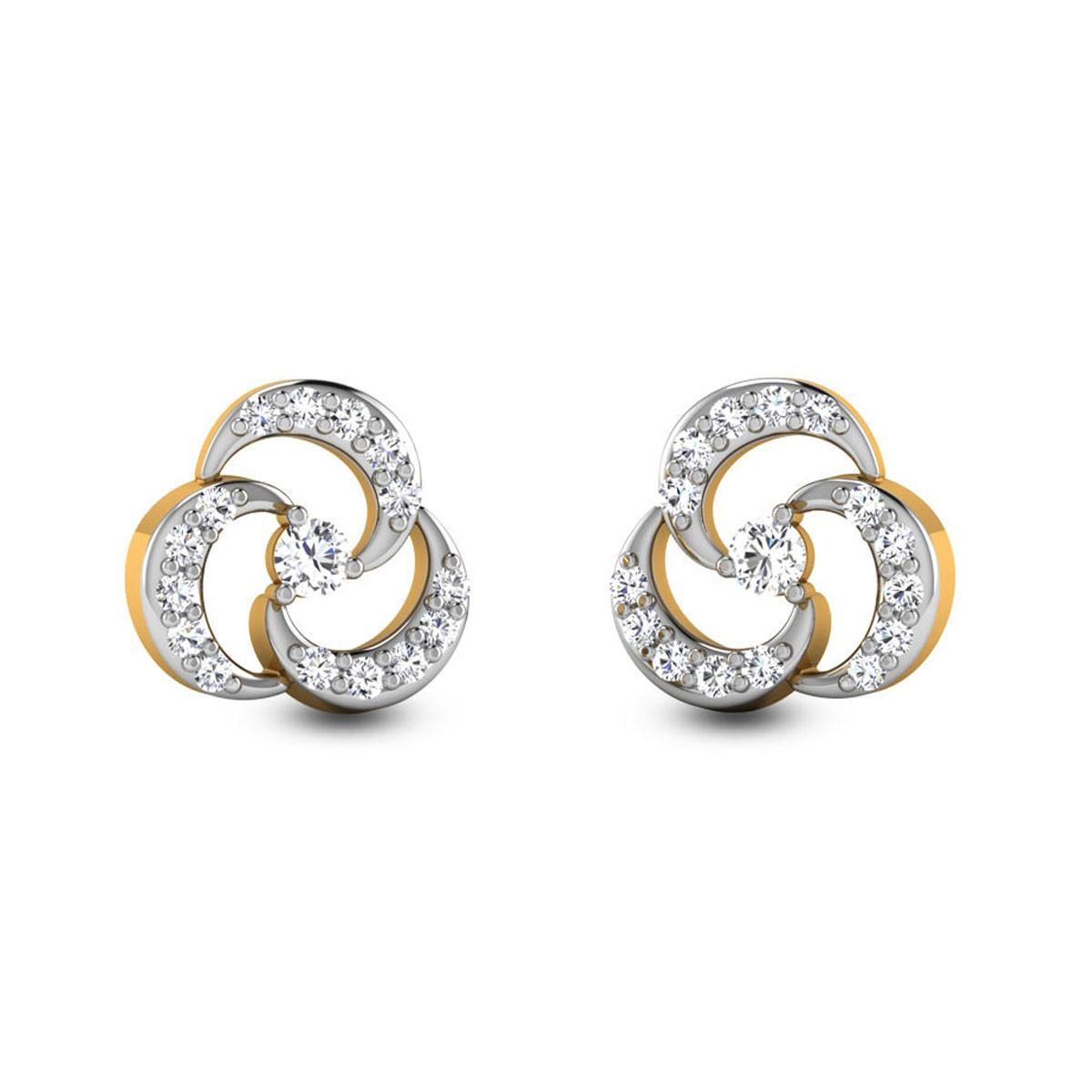 Fullan Diamond Stud Floral Earrings