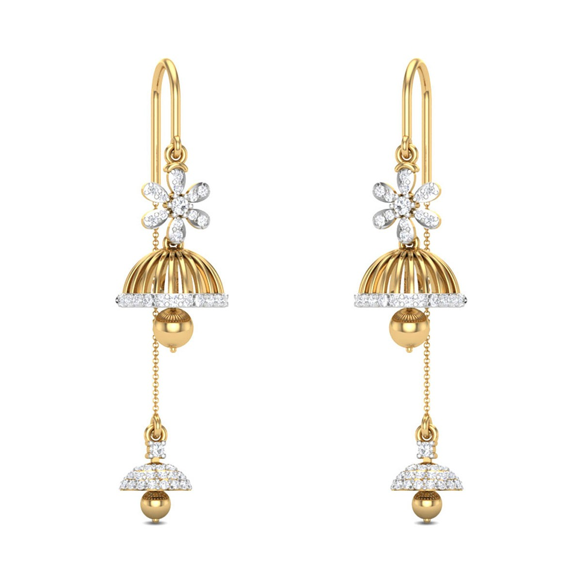 Jaide Floral Sui Dhaga Diamond Earrings