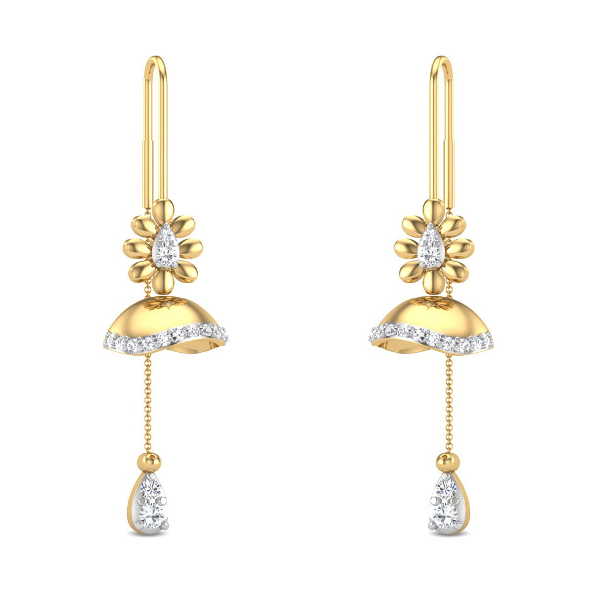 Jaibrian Floral Sui Dhaga Diamond Earrings