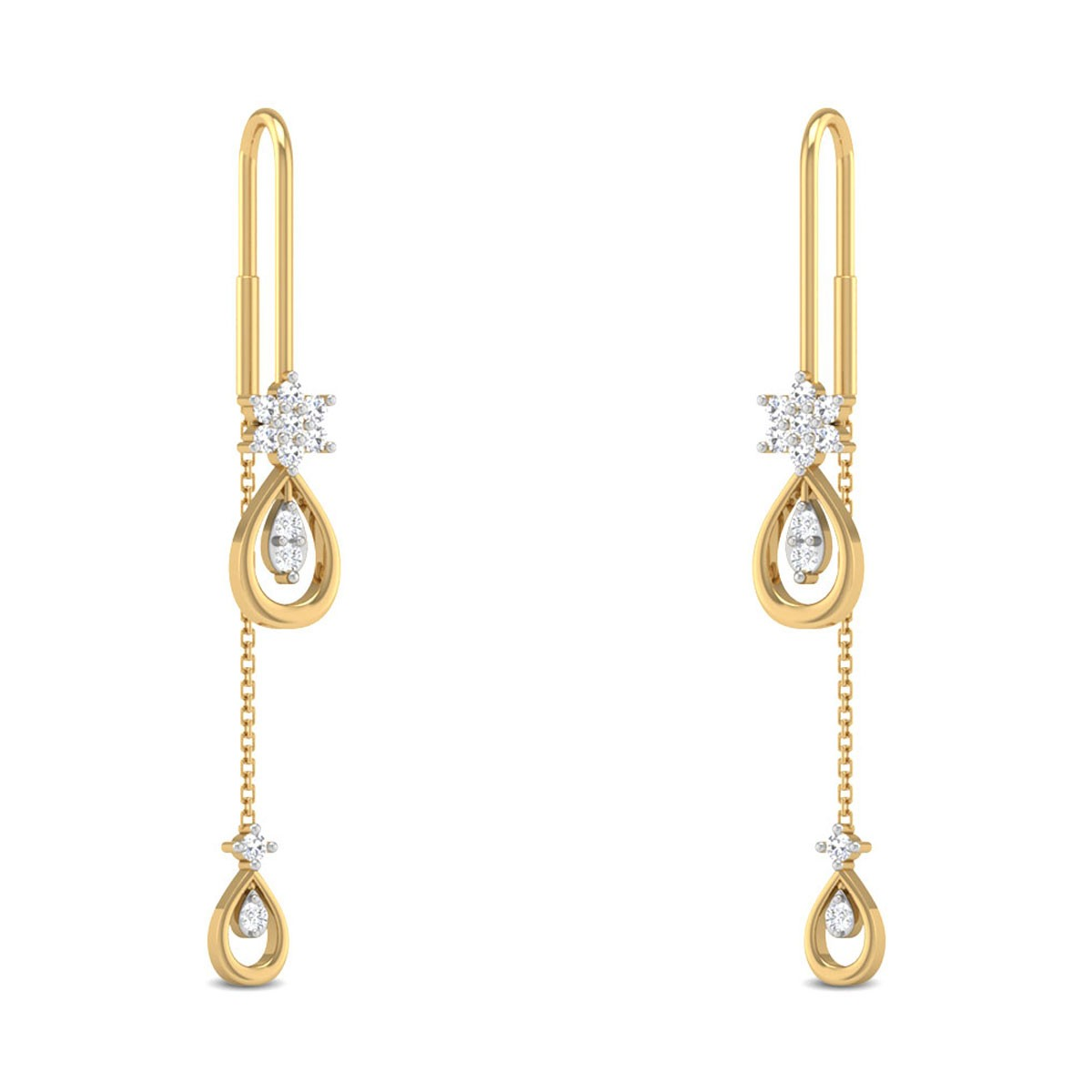 Janina Teardrop Sui Dhaga Diamond Earrings