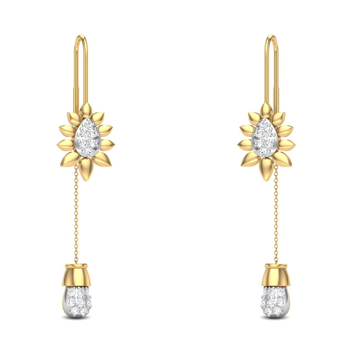 Jalanea Floral Sui Dhaga Diamond Earrings