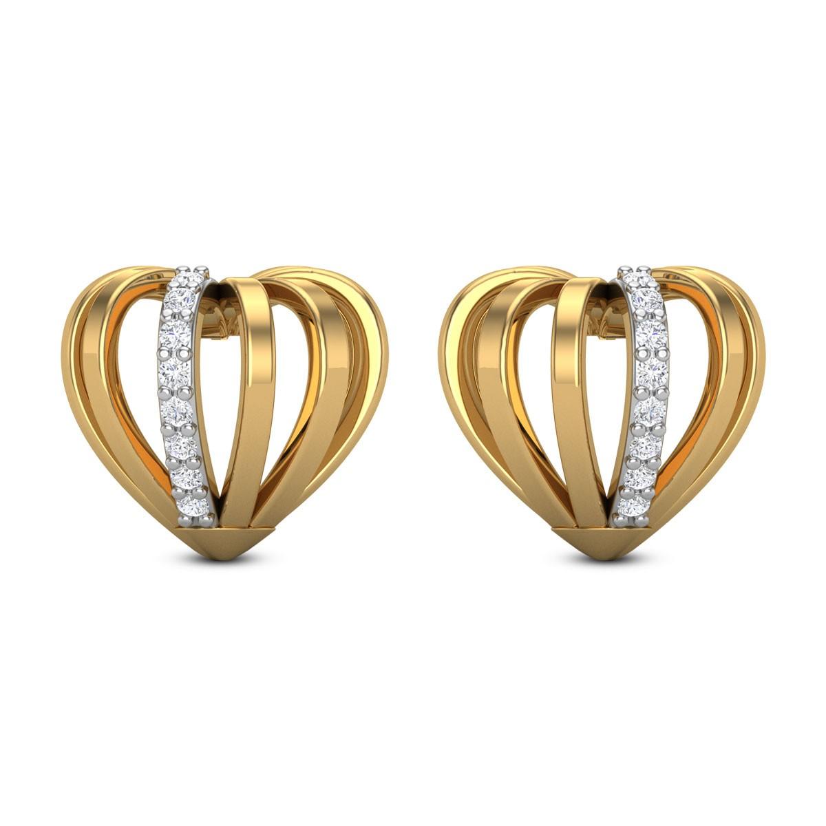 Naiya Diamond Heart Stud Earrings