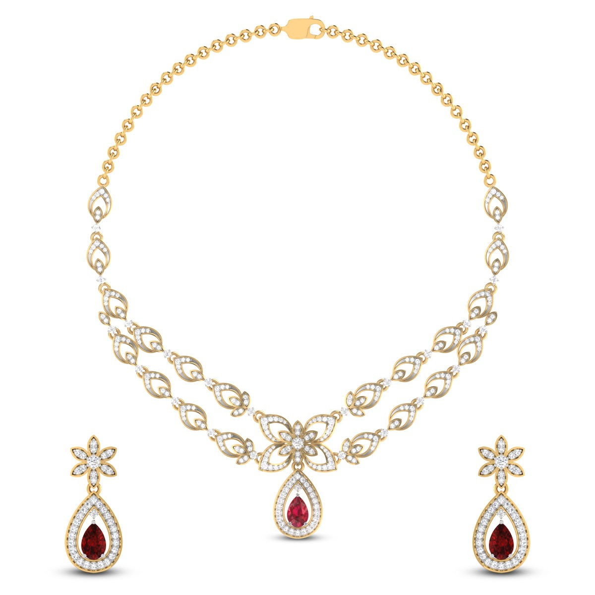 Sequential Floral Diamond Necklace