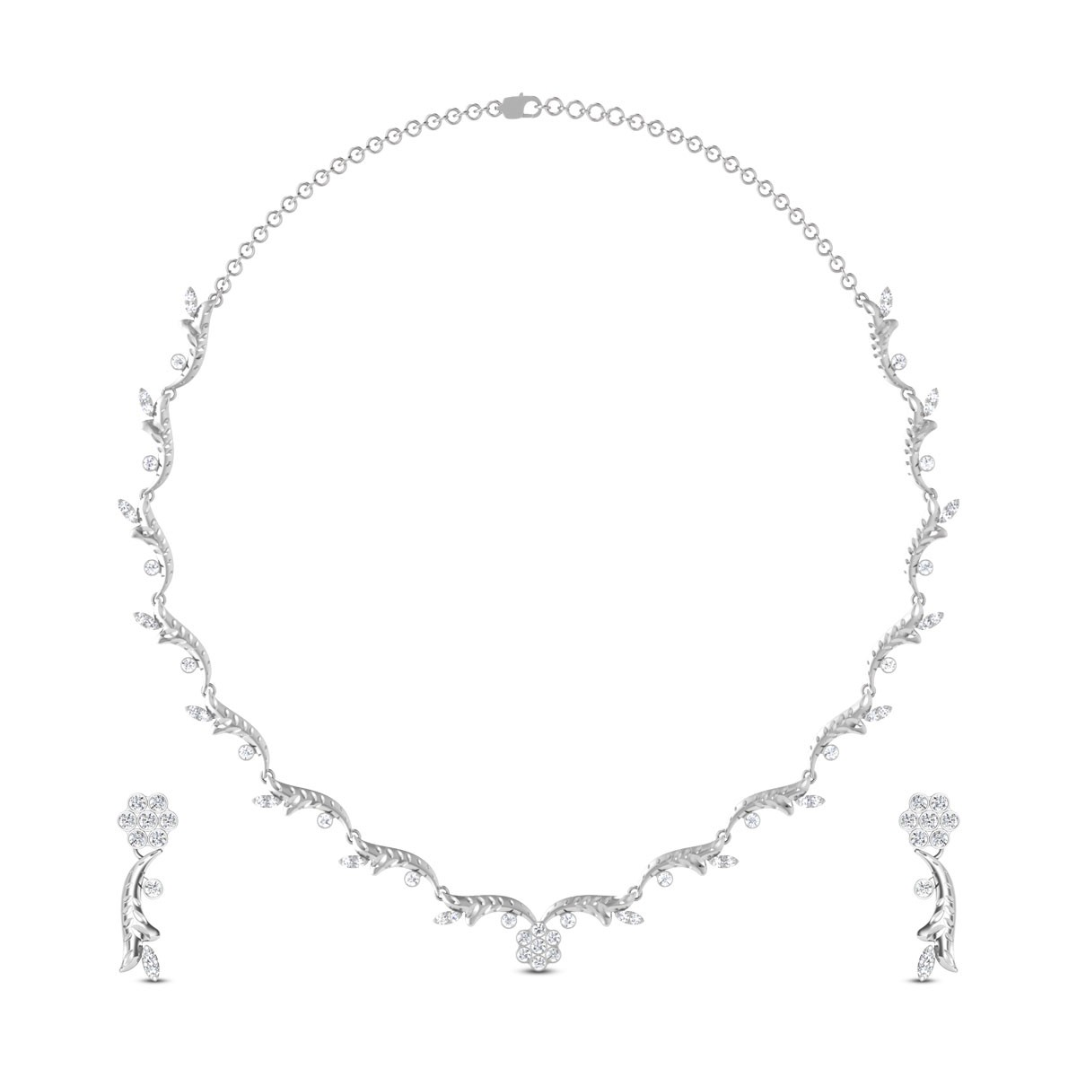 Bell Flower Diamond Necklace Set