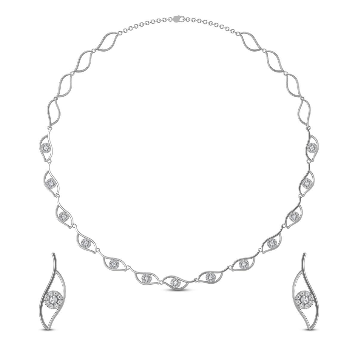Snow White Diamond Necklace Set