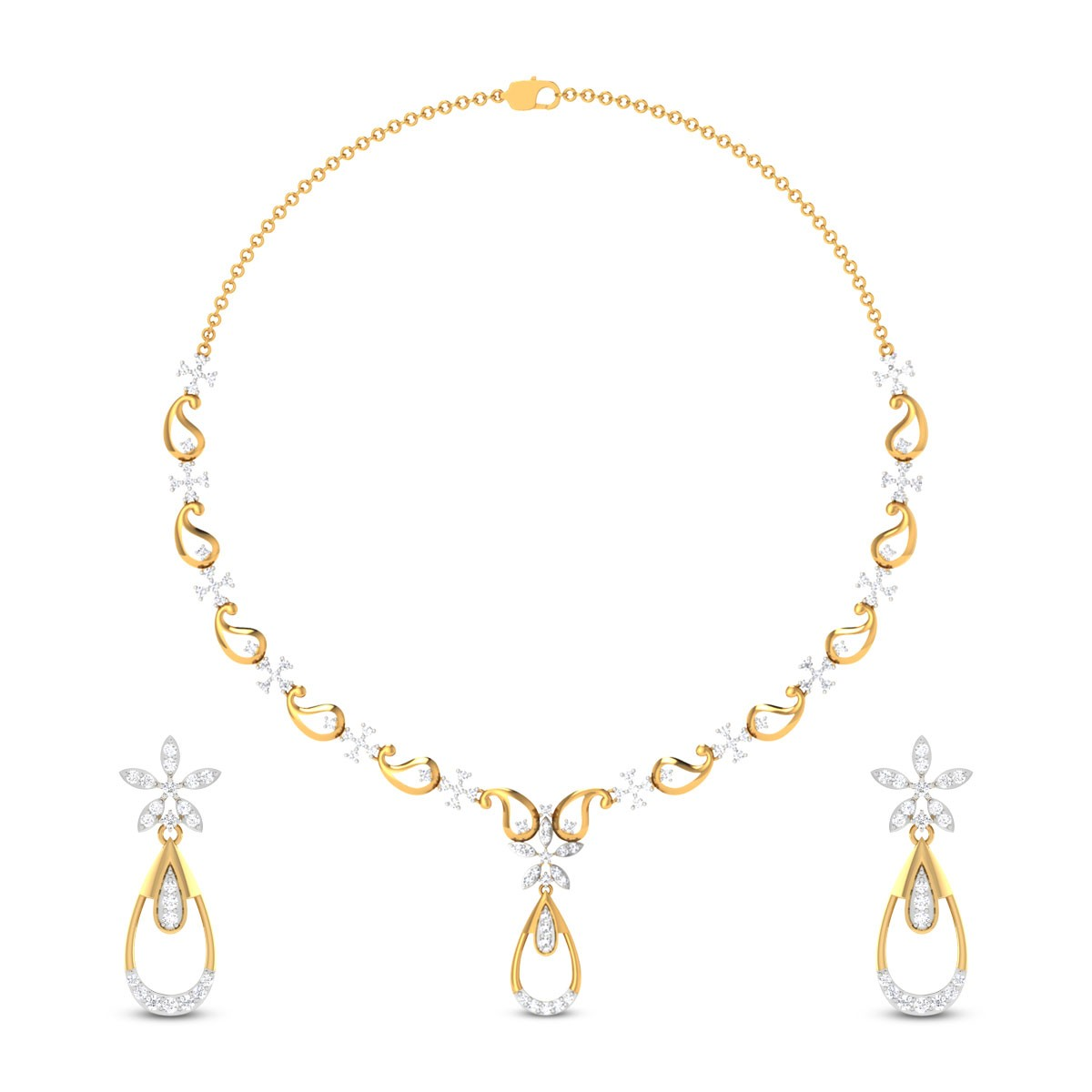 Sparkling Floral Diamond Necklace Set