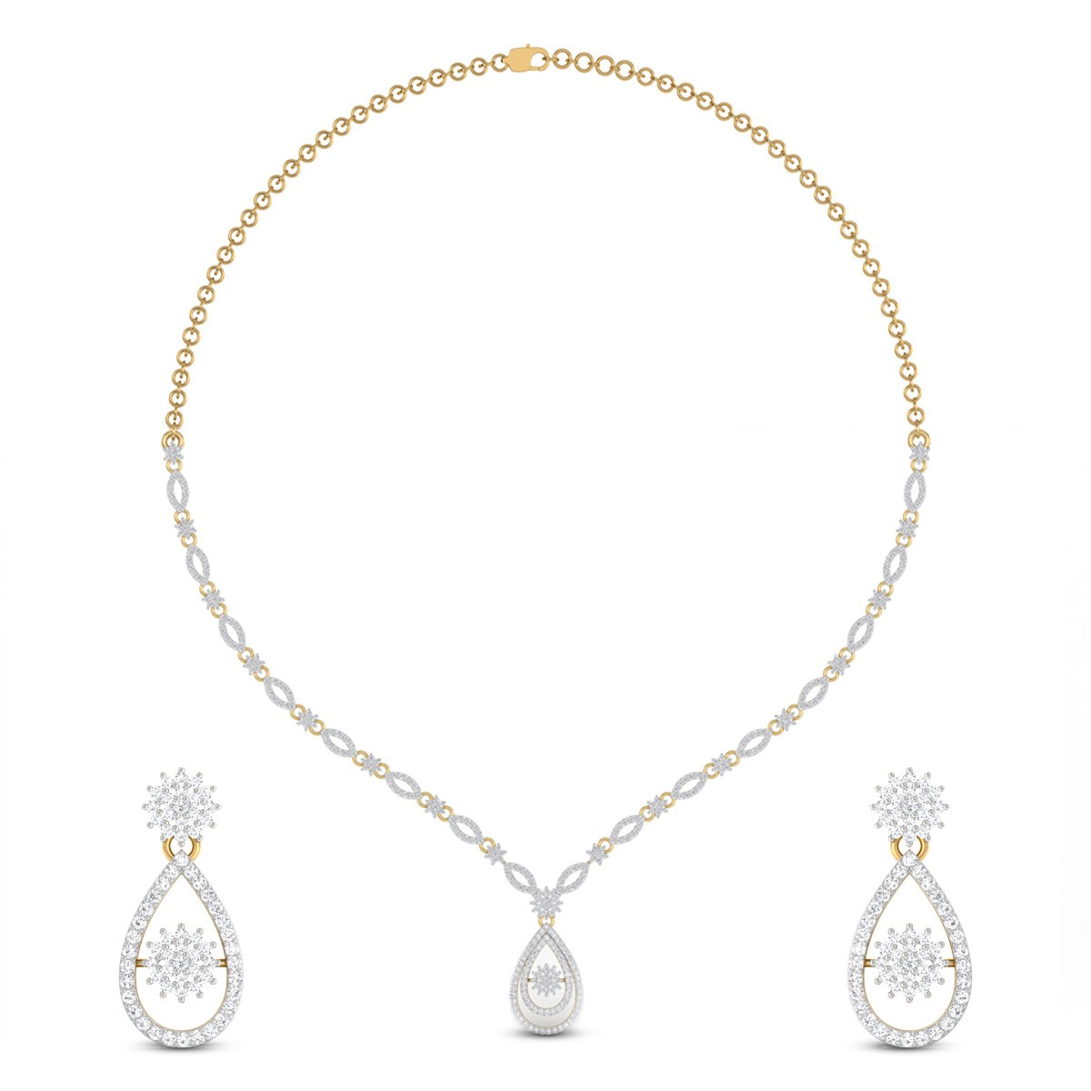 Rayna Floral Diamond Necklace Set