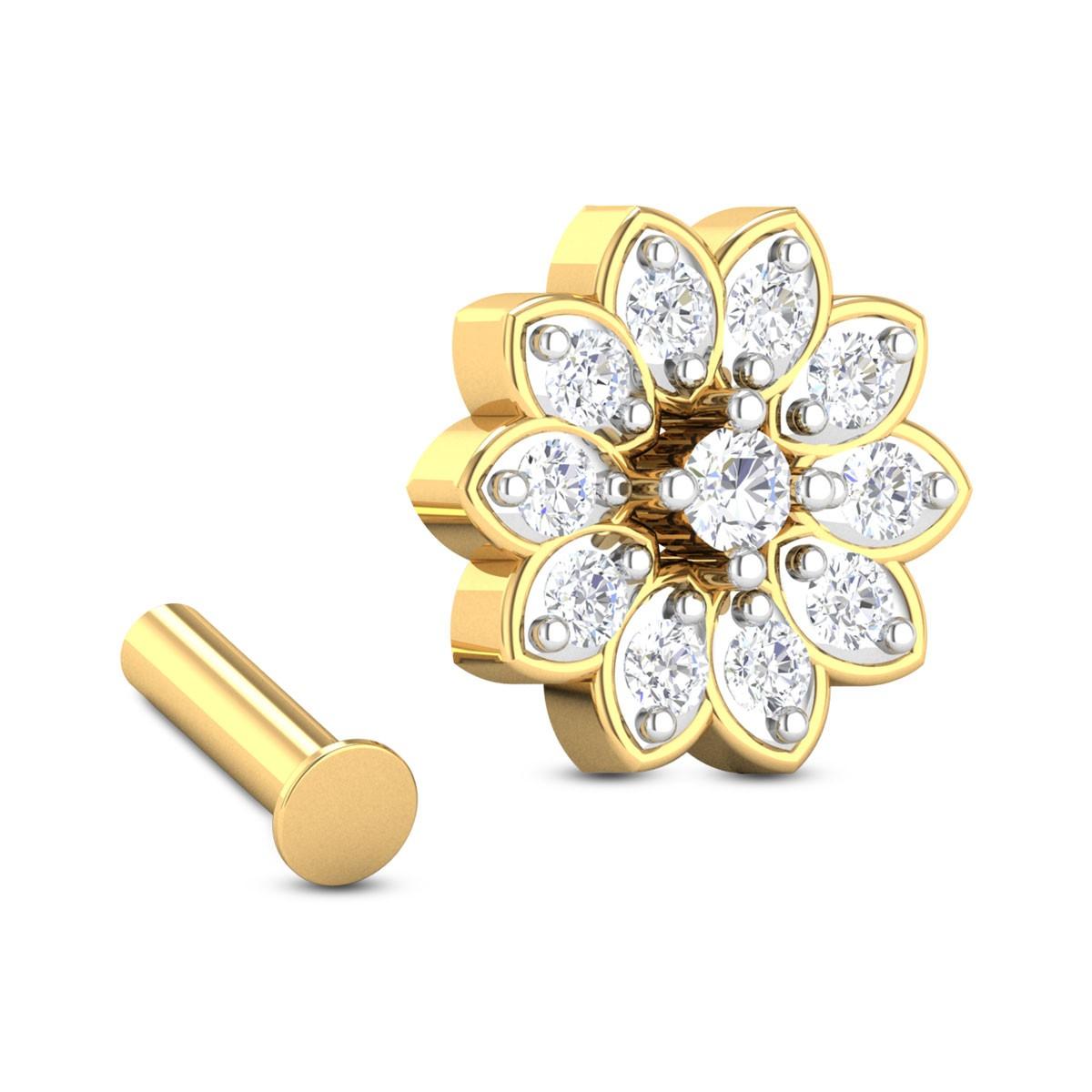 Pavani Eleven Stone Floral Diamond Nosepin