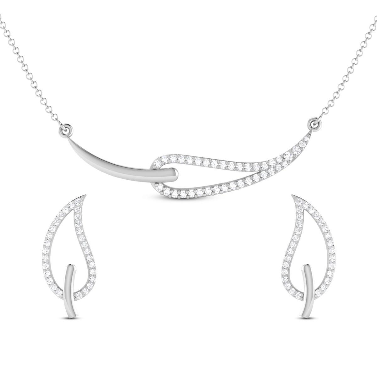 Viti Leafy Diamond Pendant Set