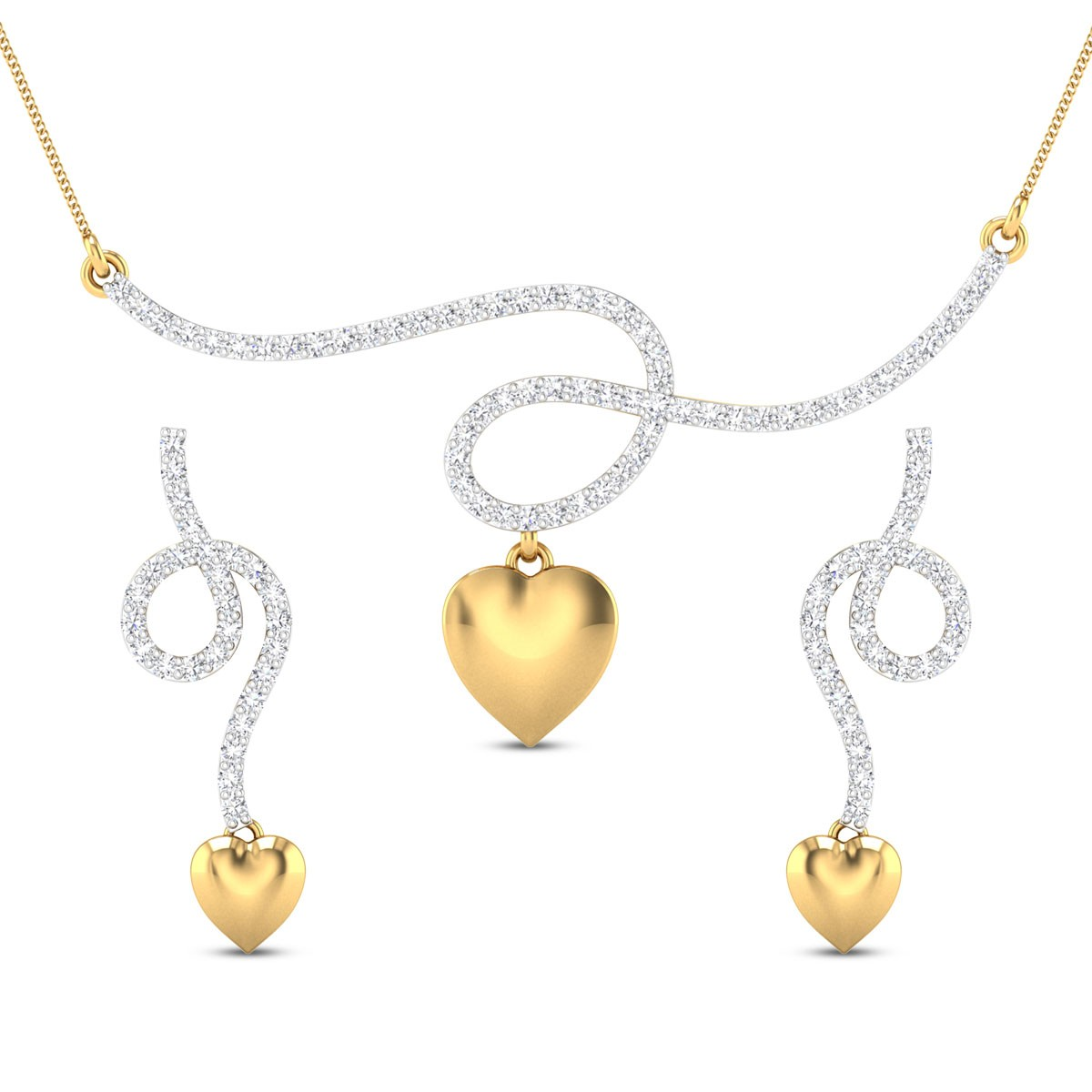 Barkat Heart Diamond Pendant Set