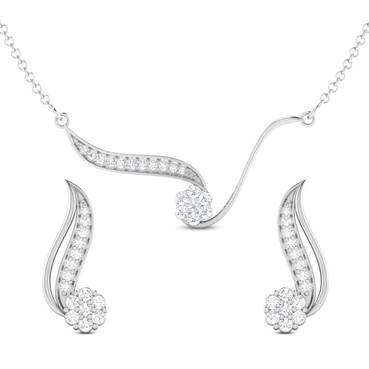 Kanak Floral Diamond Pendant Set