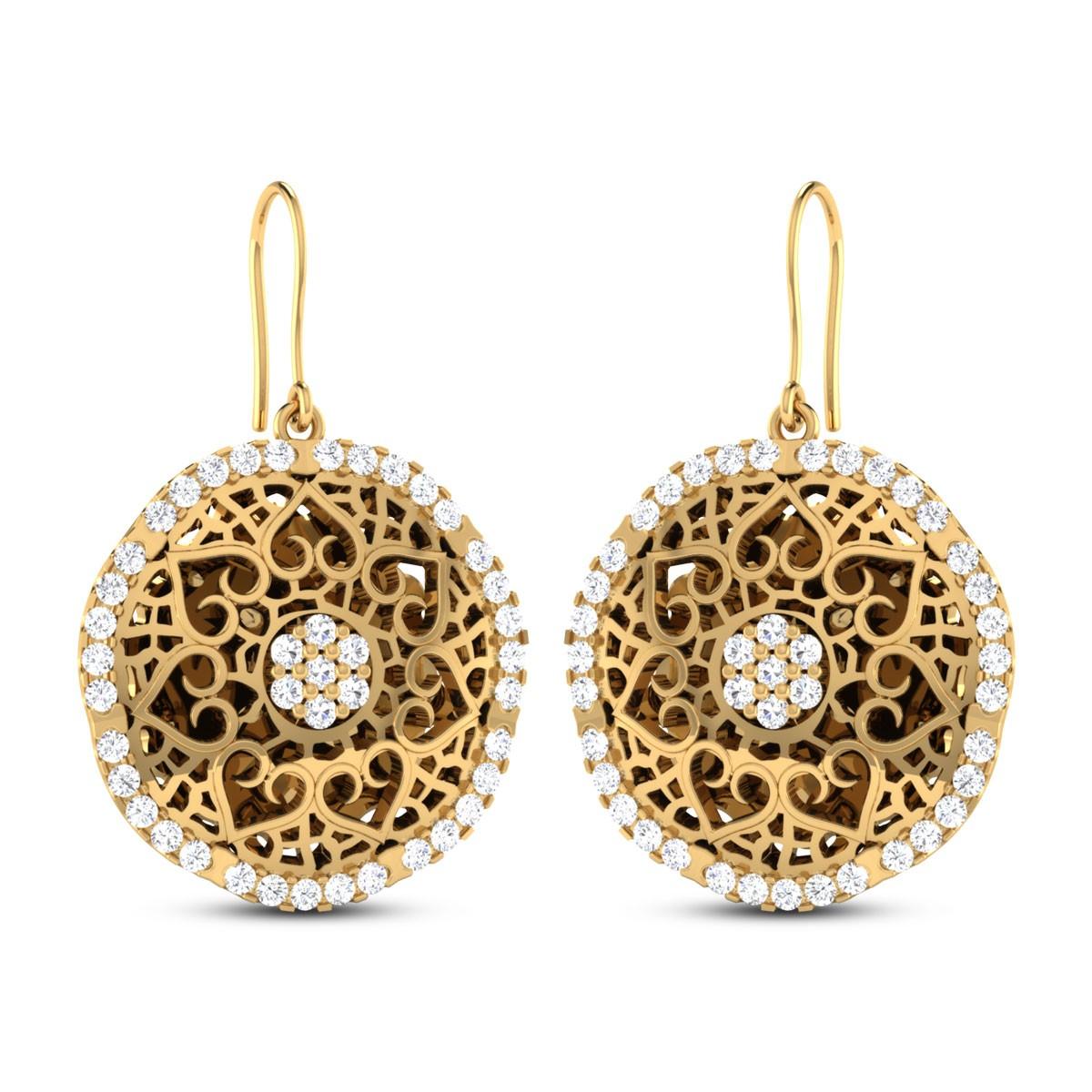Kaianna Cutout Gold Hanging Earrings