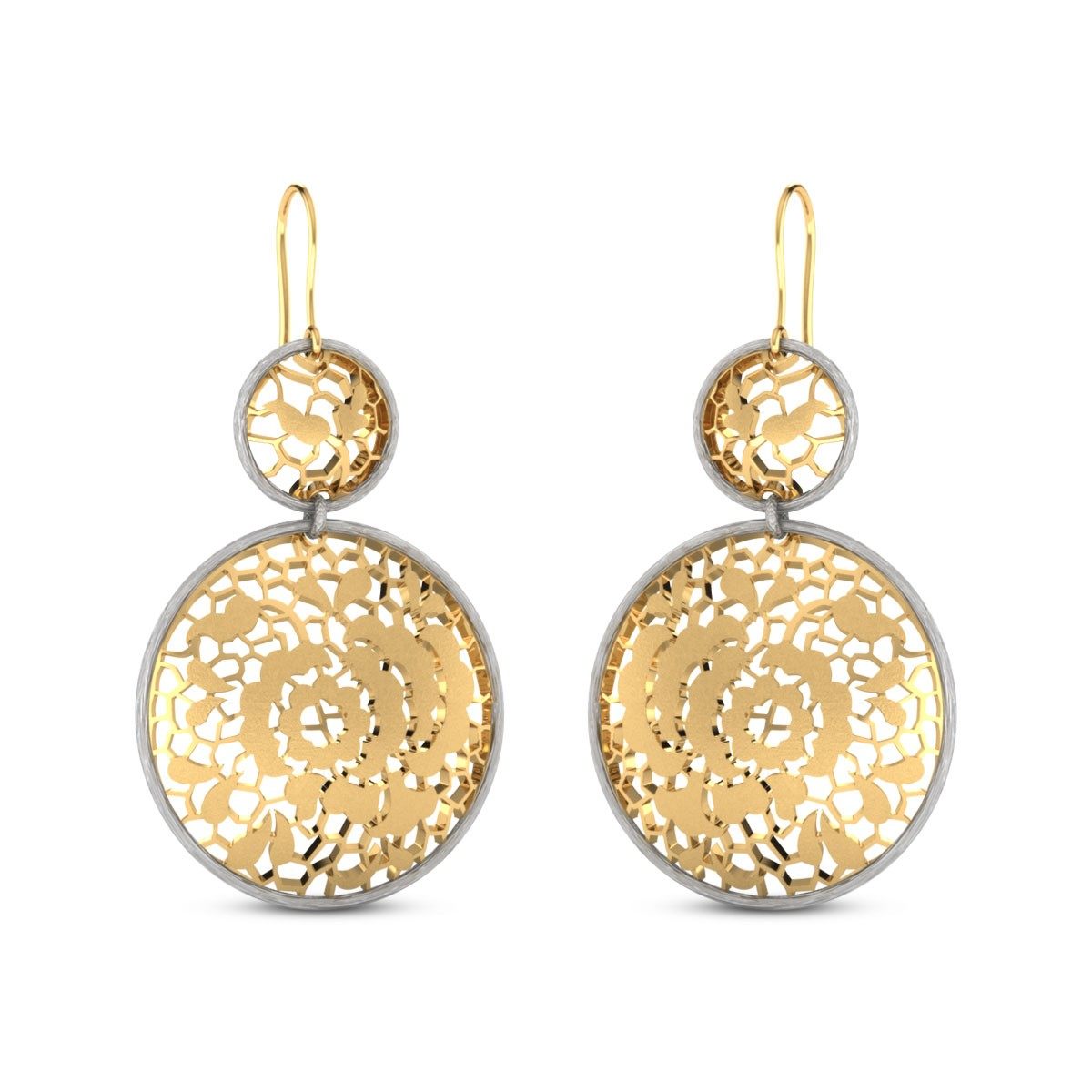 Kahlia Cutout Gold Hanging Earrings
