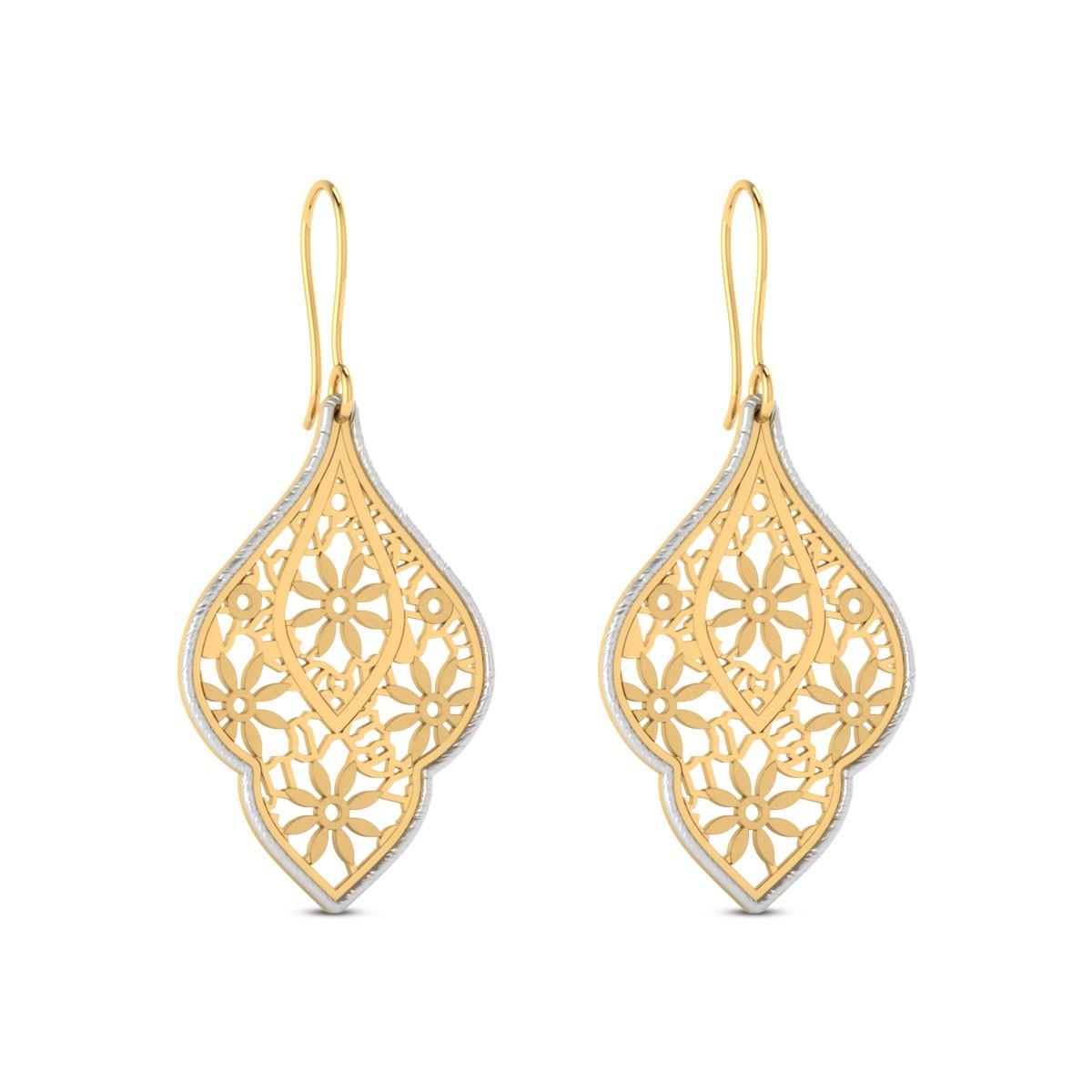 Kagome Cutout Gold Hanging Earrings
