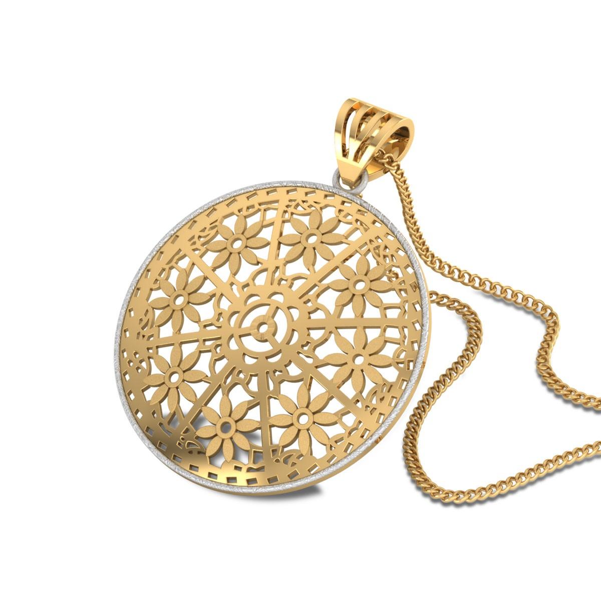 Kainalu Floral Cutout Gold Pendant