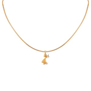 Giraffe Kid's Yellow Gold Diamond Pendant with Chain